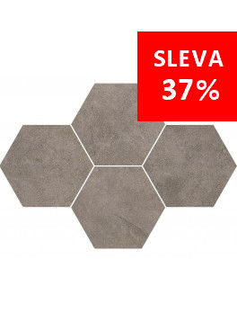 Dlažba Qubus Dark Grey Mosaic Hexagon