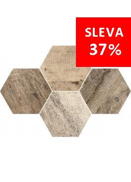 Dlažba Qubus Mosaic Hexagon Timber